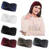 Stirnband Damen 6 Stück Kopfband Winter Häkeln Stirnbänder Gestrickt Haarband Ohrwärmer für Frauen Mädchen,6 Farben