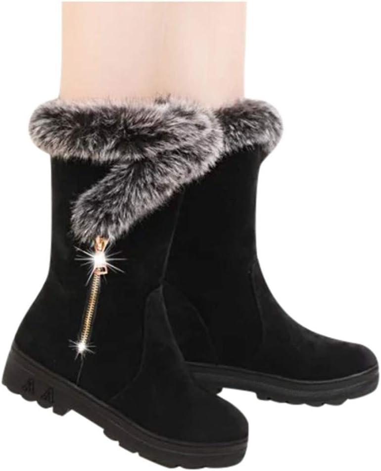 Hemlock Snow Boots Womens, Women's Winter Warm Calf Boots Soft Slip-On Long Boots Shoes Booties (US:5.5, Black2)