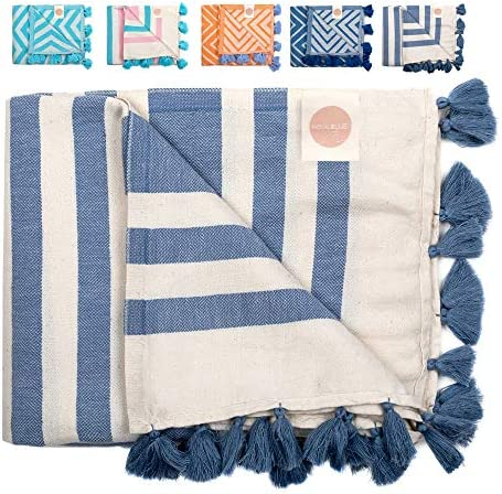 Nova Blue Turkish Beach Towels Navy Stripe Beach Towel Made from 100 Turkish Cotton Extra Large product image