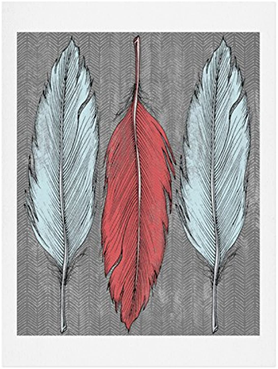DENY Designs Wesley Bird Feathered Art Print, 18Inch by 24Inch
