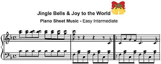 Jingle Bells & Joy to the World: Easy Intermediate Piano Solo Music Sheet