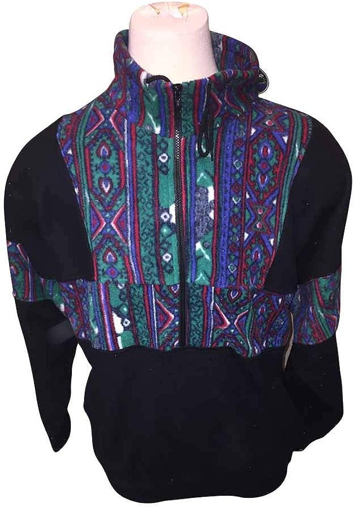 2X Black Winter Pattern Quarter Zip Black Fleece 2XB