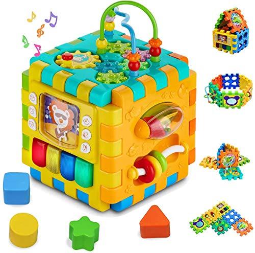 TDOYO Música Cubo Centro de Actividades - Ligero 6 en 1 Habilidades Motoras Juguetes educativos con luz de Sonido de 1 Años Regalo para bebés Niños,Orange