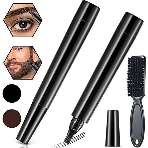 Bartfüller Stift Bleistift ,2 Stück Wasserdicht Beard Filling Pen Kit,Langlebige Beard Filler Pencil mit Pinsel, Enhance Gesichtshaar Bartstift für Schnurrbart & Augenbrauen (Schwarz & Dunkelbraun)