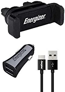 Energizer CKITB2CLI3 Universal Car Kit: 360° Clip Holder + Charger with USB-C Cable - 2 USB - 3, 4A - Cigarette Lighter So...