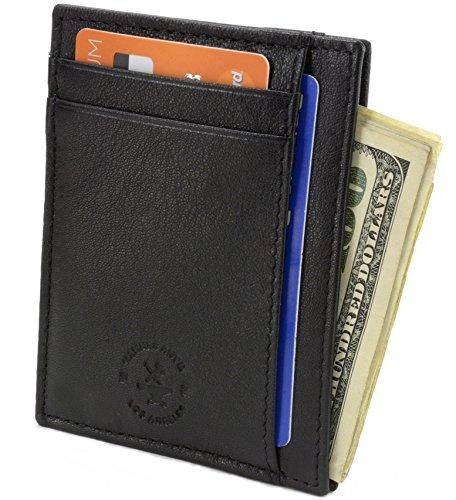 Hammer Anvil RFID Blocking Minimalist Genuine Leather Slim Front Pocket Wallet Black