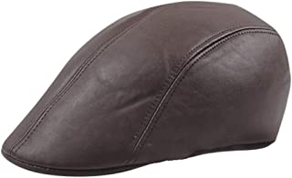 KCBYSS Casual Fashion Breathable Fitted Cap Female Hats Beret Leather Cap Autumn/Winter Forward Cap Men's and Women's Thermal Caps (Color : Brown)