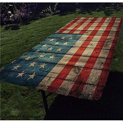 Rustic American USA Flag Polyester Fitted Tablecloth,Fourth of July Independence Day Painted Old Wooden Looking Background Patriotism Decorative Rectangular Elastic Edge Fitted Table Cover,Fits Rectan
