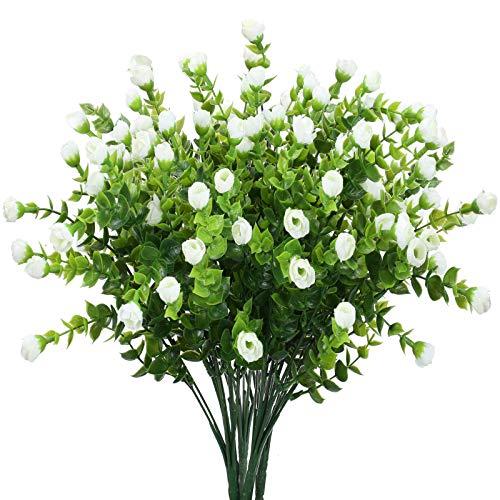 DWANCE 4 Pz Piante Artificiali da Esterno Interno con Mini Rose Artificiali Bianco Bouquet Arbusti...
