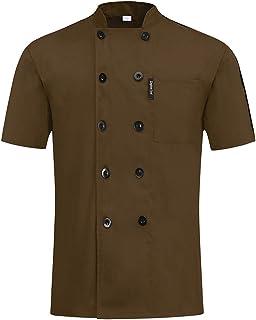 MJL Professional Chef Jacket Short Sleeve Chef Coat Unisex Modern Fit Chefs Apparel Kitchen Restaurant Servers Waitress Wa...