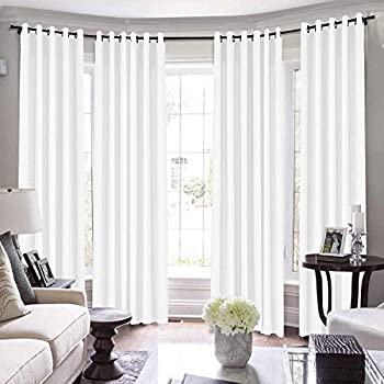 TWOPAGES Loft Curtains 144 Inch Long for Loft Natural Linen Curtains for Living Room/Bedroom Window Drape 7084-0 Paper White 1 Panel 100Wx144L