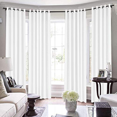 TWOPAGES Loft Curtains, 144 Inch Long for Loft Natural Linen Curtains for Living Room/Bedroom Window Drape, 7084-0 Paper White, 1 Panel 50Wx144L