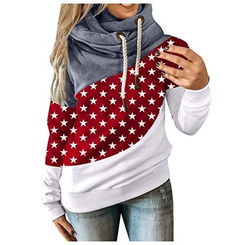 riou Sudaderas Mujer con Capucha Otoño e Invierno Cordón Suéter Estampado de Estrellas Deportivos Moda Originales Pullover Camiseta con Bolsillo Tops