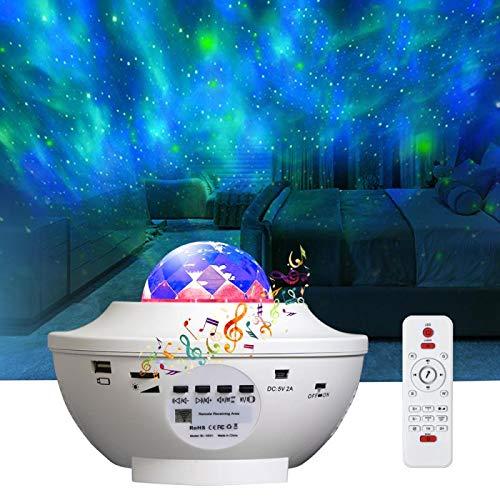 Led Sternenhimmel Projektor, Sternen licht Projektor mit Fernbedienung, Farbwechsel Musik, Bluetooth Lautsprecher, Timer Ozeanwellen Projektor Besten Geschenke für Party Weihnachten Ostern (Weiß)