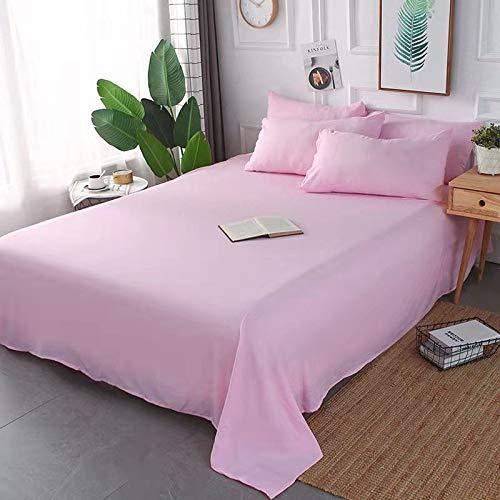 Colcha a Prueba de Polvo y sin Pelusa, sábanas de algodón monocromáticas, combinación de sábana + Funda de Almohada, Ropa de Cama en Polvo de Cereza (para Cama de 1 Metro)
