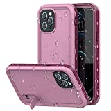 iPhone 12 pro max Waterproof Mobile Phone case, Compatible with MagSafe and Portable Stand, IP68 Underwater Full Body Protection, Shockproof, dustproof and Snow-Proof (6.7 inches ) (Pink)