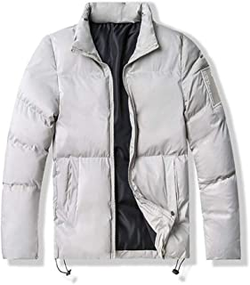 YXHM A Men's Winter Cotton Collar Collar Warm Solid Color Printing Zipper Cardigan Jacket Cotton Clothing (Color : Beige, Size : XXXL)