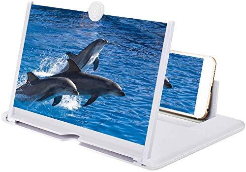 Handy Vergrößerungs Bildschirm, 10-Zoll Bildschirm Vergrößerungsglas, Ausziehbarer HD Bildschirm gegen Blaulicht, Bildschirmlupe Ständer für das Ansehen von Filmvideos auf Alle Smartphone (Weiß )