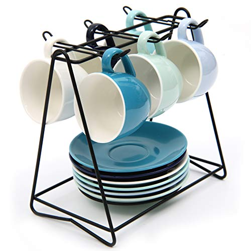 SHACOS 6er Set Cappuccino Tassen Set Blau Espressotassen Dickwandig 100ml Porzellan Kaffeetassen Set mit Untertasse und Metallständer, Bunte Serie
