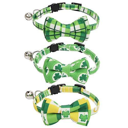 SLSON 3 collares decorativos para gatos para el día de San Patricio, collar para gato ajustable con diseño verde con timbre y hebilla de seguridad para gatos, gatos y fiestas