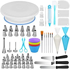 Cake Decorating Kit Supplies: All-in-one design, 1 Cake Turntable, 12 Large Decorating Tips, 30 Cake Tips, 3 Couplers, 2 Flower Nail, 1 Flower Lifter, 1 Decorating Pen, 1 Brush, 6 Cake Paint Brush, 1 Silicone Spatulas, 1 Cake Server, 2 Icing Spatula,...
