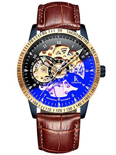 Alienwork IK mechanisch automatisch horloge voor heren en dames, blauw met lederen armband, bruin zwart skelet