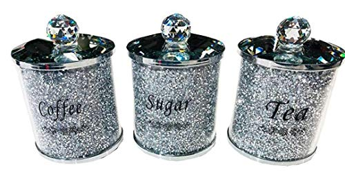 Hotaden Diamante machacado té CFEE azúcar Botes jarras de Almacenamiento de Plata Pasamanería de Cristal Llena de Diamantes Regalo