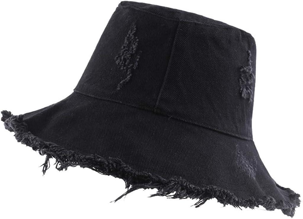 Women Girls Fashion Solid Color Ripped Frayed Hem Packable Cap Fisherman Bucket Sun Hat for Women Teens