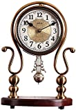 ZouYongKang Reloj de escritorio, retro Vintage No-Ticking Batería Operado Pequeño Reloj de alarma, Movimiento de cuarzo HD Clase de Metal Silencioso Reloj de mesa para dormitorio Decoración interior D