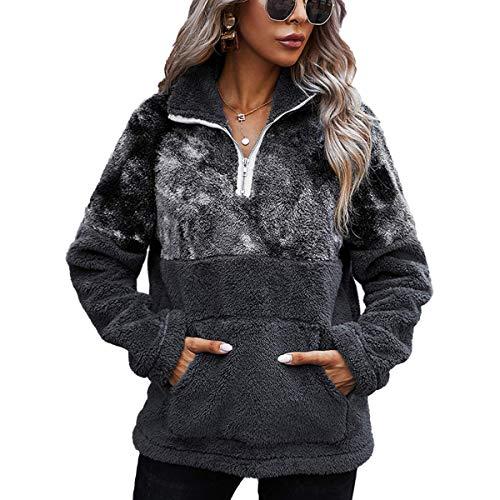 LIVACASA S-XL Chaqueta Polar Mujer Sudadera Cuarto de Zip Caliente Flexible Invierno Otoño Chaqueta Zip Casual Moda Amplio Gris Oscuro L