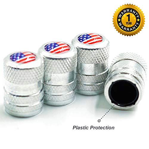 CKAuto American Flag Valve Stem Caps, Aluminum USA Tire Valve Caps, Universal Dust Proof Stem Covers for Cars, Trucks, Bikes, Motorcycles, Bicycles, Corrosion Resistant, 4 Pack(Silver)