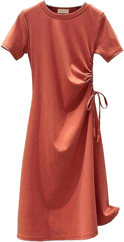 CANClO Women's Summer Solid Short Sleeve Drawstring Slim Scoop Neck A-line Mini Shirt Dresses (Orange,Large)