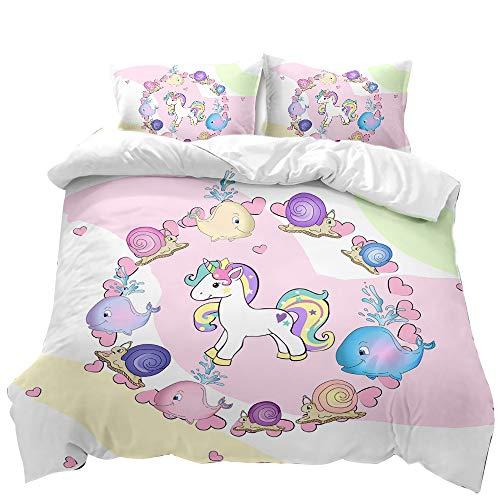 SHJIA Cartoon Pony 3 Edredón Funda Nórdica Funda De Almohada, Ropa De Cama para Niñas Rosadas Impresión Digital Patrón De Dibujos Animados Lindo Textiles para El Hogar