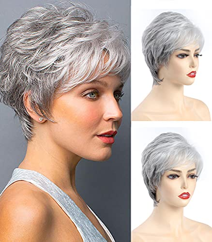 Short Gray Wigs for Women Short Wavy Curly Wig with Bangs Natural Looking Daily Synthetic Hair Wigs for Old Ladies + 2 Wig Caps (Gray Mix White)