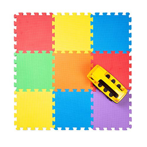 """Non-Toxic Foam Puzzle Floor Mat, Comfortable, Extra Thick, Cushiony Exercise and Play Mat for Toddlers, Kids & Adults, 9 Tiles (12""""x12""""), Primary Colors"""
