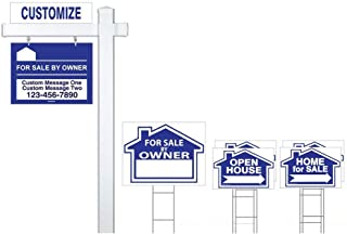 Deluxe Customized for Sale by Owner 7 Sign Bundle with Real Estate Post & H-Stakes - Open House and Home for Sale with Directional Arrows - Personalized Rider Sign for Yard Post