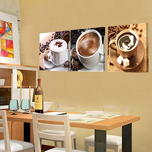 GYSS 3 panelen, linnen, café, decoratie, keuken, restaurant, Art Deco Café, zwart, modern patroon