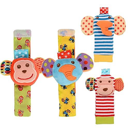 Rattle bebé de juguete muñeca de Bell Buscador de calcetines Conjunto de la textura del desarrollo infantil lindo suave de animales recién nacidos para Niñas Niños 4PCS Rattle