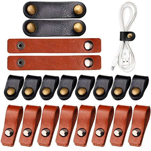 pengxiaomei 20 Pcs Leather Cable Straps, Reusable Cable Organizer PVC Leather Cable Ties, Portable USB holder, Wire Ties Cord Organizer for Work and Travel, 10 Long -Brown,10 Short -Black