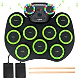 Electronic Drum Kit 9 Pads Roll-up Practice Drum Set With Colorful Lights for 8h Playing With Built-in Speaker, Headphone, USB MIDI Jack for Kids, Teens, and Adults Beginner, Best Birthday Gift