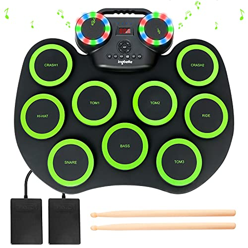 Electronic Drum Kit 9 Pads Roll-up Practice Drum Set With Colorful Lights for 8h...