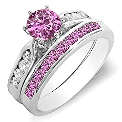 1.00 Carat (ctw) 14k Gold Round Pink Sapphire & White Diamond Ladies Bridal Engagement Ring Set 1 CT