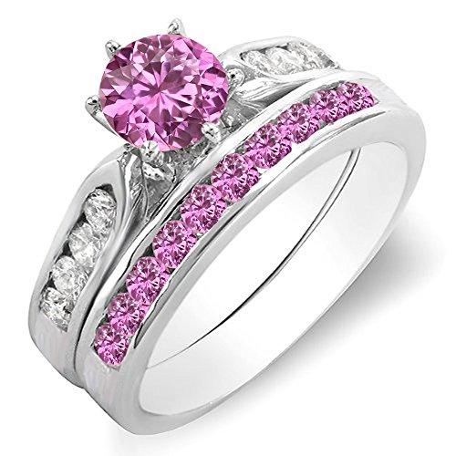 Dazzlingrock Collection 14K Round Pink Sapphire & White Diamond Ladies Bridal Engagement Ring Set, White Gold, Size 7