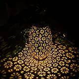 Linterna Solar Exterior, TOGAVE Farol Solar Exterior Jardin IP44 Impermeable Luces de Patrón Farolillos Solares Exterior Decoracion para Terraza, Camino, Mesa, Patio, Porche - Blanco Cálido