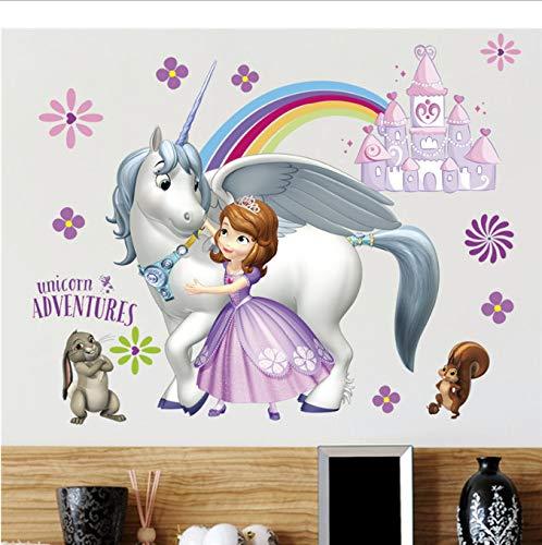 hfwh muursticker, cartoon Unicorn Dora Adventure voor kinderen kinderkamer decoratie muur deco slaapkamer woonkamer decoratie DIY wand 45 x 60 cm
