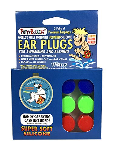 PUTTY BUDDIES Floating Earplugs 3-Pair Pack – Soft Silicone Ear Plugs for Swimming & Bathing – Invented by Physician – Keep Water Out – Premium Swimming Earplugs – Doctor Recommended (Blue/Red/Green)