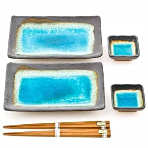 Blue Crackleglaze Japanese Ceramic Plate Set for Sushi & Other Cuisine – Turquoise Glaze – Includes Soy & Wasabi Sauce…