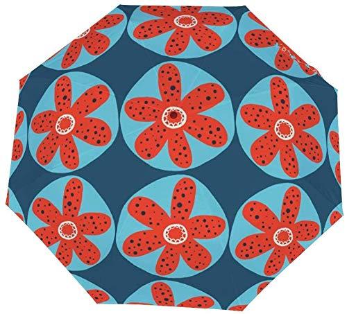 Faltbarer Regenschirm, skandinavische Blumen, Winddicht, leicht, kompakt, für den Außenbereich, Sonne und Regen