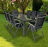 VCM Alu Sitzgruppe 190x80 Schwarzglas Gartenmöbel Gartengarnitur Tisch Stuhl Essgruppe Gartenset Tisch + 8 Stühle: Schwarz