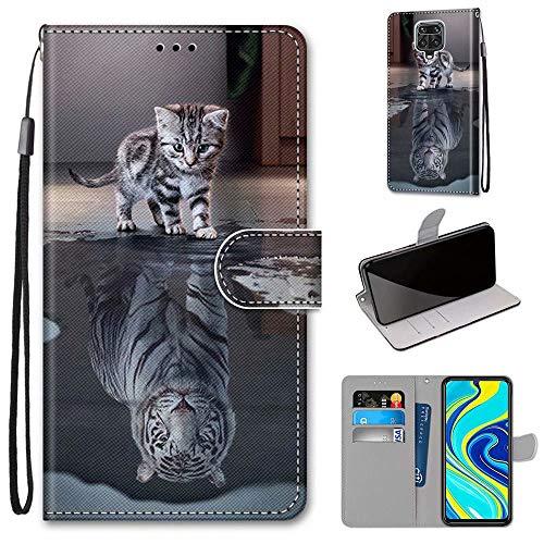 Miagon Flip PU Leder Schutzhülle für Xiaomi Redmi Note 9 Pro,Bunt Muster Hülle Brieftasche Case Cover Ständer mit Kartenfächer Trageschlaufe,Katze Tiger
